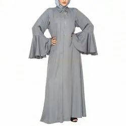 Fossil Grey Bell Sleeves Abaya