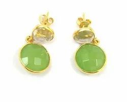 Peridot & Crystal Quartz Gemstone Stud Earring Set