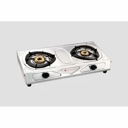 Silver SS Classic Two Burner LPG Gas Stove, For Home