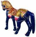 Metal Meenakari Horse Statue Enamel Work Figurine