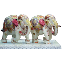 Multicolor Marble Elephant Statue
