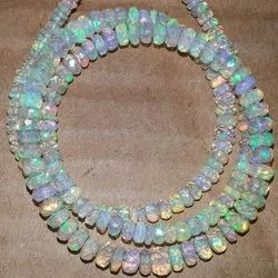 Natural Ethiopian Opal Stone Faceted Rondelle Bead Necklace