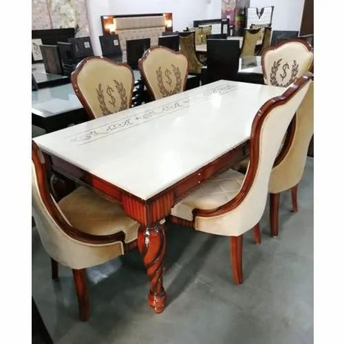 Wooden 6 Cream Designer Dining Table Set For Home Rs 145000 Set Id 21999877933