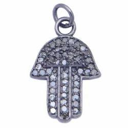 Nanplanetsilver Pave Diamond Hamsa Oxidized Sterling Silver Charm Pendant, Size: 20X13mm