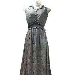 Cotton Party Wear Ladies Grey One Piece Long Dress