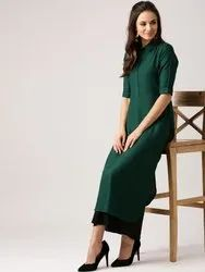 Half Sleeve Formal Wear 14 Kg Rayon Collar Kurti