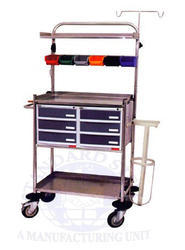 standard steel White Crash Cart Trolley, Size: 1530
