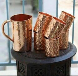 Unique Natural Copper Jugs & Glass Set, Size: 1.5 Ltr Water Jug , For Home Used