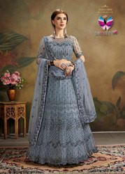Grey Designer Net Lehenga Choli