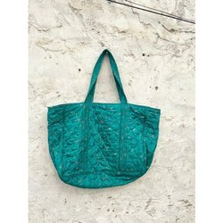 Indian Vintage Handmade Printed Pure Silk Sari Tote Bag