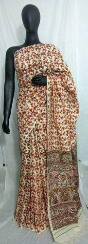 Cotton Khes Kalamkari Printed Saree with Blouse Piece, Length: 6.3 m