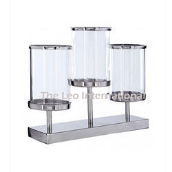 3 Glass and Metal Hurricane Candle Holder
