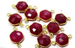 Set Of 6 Piece Ruby Hexagon Shape Briolette Bezel Connectors Size 10mm