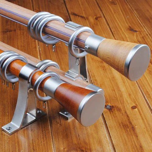 Aggarwal Interior Teak Wood Double Curtain Rod