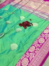 Festive Wear Pure Banarasi Katan Silk Pista Saree, Hand Made , 6.3 M (With Blouse Piece)