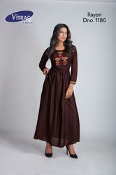 Rayon Regular Wear Long Straight Kurti