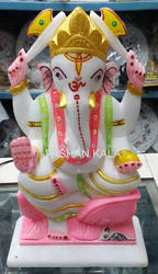 Marble Ganesha Statue Colorful