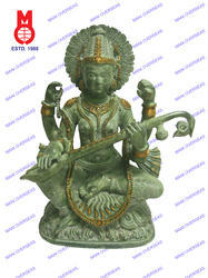Saraswati Sitting On Lotus Base Antq. Green Finish Statue