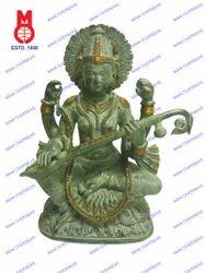 Saraswati Sitting On Lotus Base Antq. Green Finish Statue