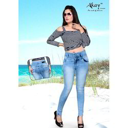 Akay 3 Button Slim Women's Light Blue Jeans