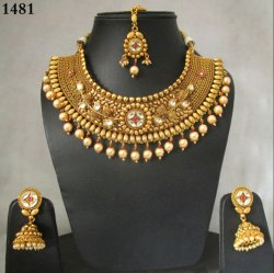 Choker Gold Plated  Antique Polki Necklace Set