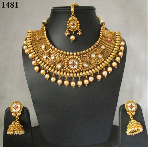 Traditional Necklace Copper Choker Gold Plated Antique Polki Necklace Set