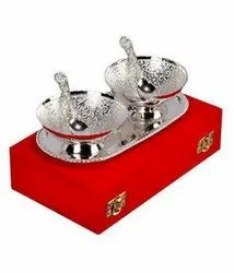 Aluminium Preyog Silver Plated 2 Bowls & Spoon Set With Tray (Silver, Pack of 5)