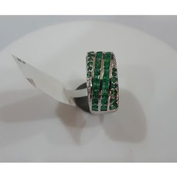 Green Emerald Silver Ring