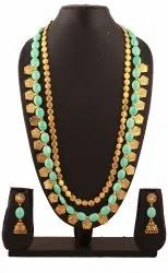 SPJ039 Classy Necklace Greenish Antique Gold Round Beads
