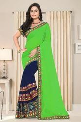 Embroidred Designer Green And Navy Blue  Color  Saree