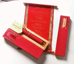 Red Box Scroll Invitation
