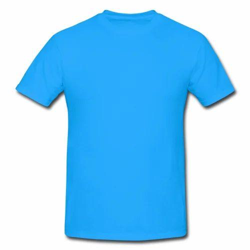 on wholesale new lifestyle crazy price Sky Blue Plain T Shirt