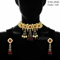 Pearl Meenakari Choker Necklace Set