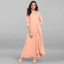 Peach Poly Crepe Kurta With Attached Dupatta(JNE3311)
