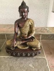 CAPSTONA Brown Buddha Brass metal with Carving, Size/Dimension: 2 Ft