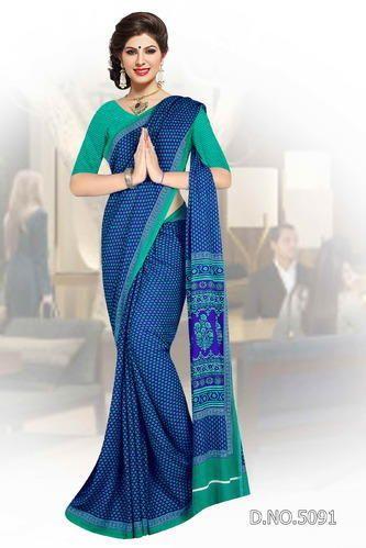 65605ba6bbf248 Printed Formal Wear Blue Cotton Uniform Saree, 6.3 M (with Blouse Piece)