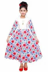 Girls White & Red Floral Long Party Dress