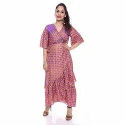 Printed Indian Sari Long Wrap Dress