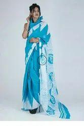 Exclusive Pure Hand Block Batik Printed Cotton Mulmul Saree