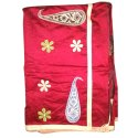 Party Wear Laxmi Printing Red Handloom Applique Silk Saree, 6.3 M (with Blouse Piece)