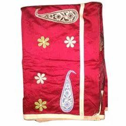 Red Handloom Applique Silk Saree