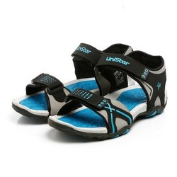 Mens Light Grey Black Sea Green Synthetic Leather Sports Sandals