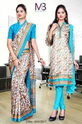 Sky Blue and Grey Italian Crepe Uniform Saree Kurti Combo