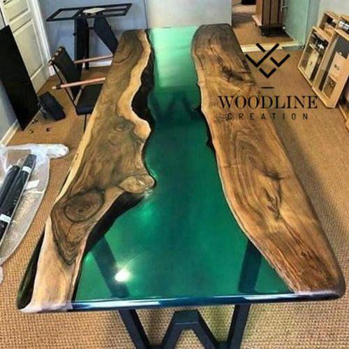Woodline Creation Multiple Epoxy Resin Teak Wood Center