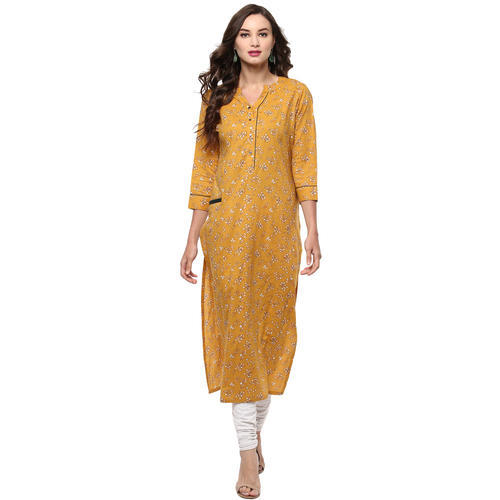 Darzaania Yellow Cotton Printed Long Kurta