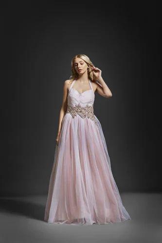 e8b1cb2ff3 Net Satin Halter Neck White & Pink Color Designer Party Wear Ball Gown