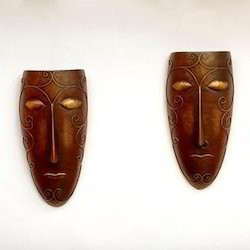 copper Tribal Male And Female Mask Wall Decor, Dust With Dry Cloth, Packaging Type: Box Pack