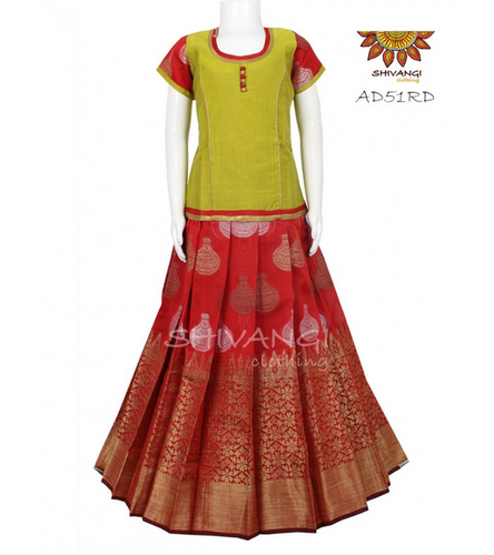 ad030d8a57 Red Shivangi Chanderi Jacquard Pattu Pavadai -ad51rd, Rs 1595 /piece ...