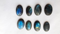 Natural Blue Labradorite Cabochons Top Center Hole drilled Calibrated Loose Gemstone