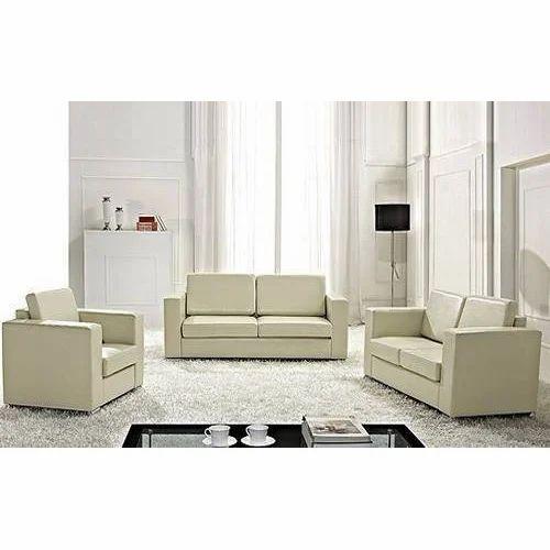 Cream leather fabric living room sofa set rs 40000 set - Living room with cream leather sofa ...
